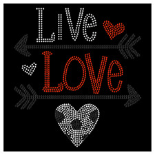 Live Love Heart Mom Soccer Hotfix Iron On Rhinestone Shirt Transfer