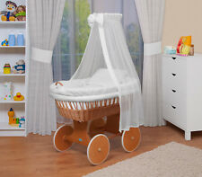 Waldin Baby Passeggino,Culla di Vimini,Completo con Accessori,XXL,Nuovo,Bianco
