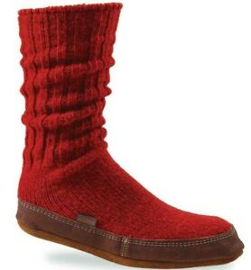 NEW Acorn Original Slipper Sock Red Ragg Wool Mid Calf Unisex M L Men Women