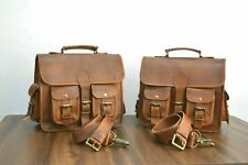 Motorcycle Saddlebags Side Pouch Brown Real Leather Panniers 1 Pair