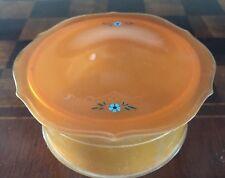 Vintage Round Celluloid Covered Vanity Trinket Box Orange  Hand-Painted