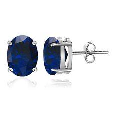 Sterling Silver Created Blue Sapphire 7x5mm Oval Stud Earrings