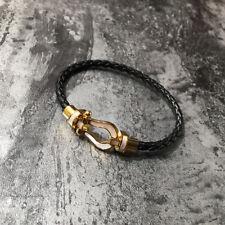 Bracelet Magnétique Doré Cuir Noir Sabot Cheval Nacre Blanc Plaqué Or TRZ1