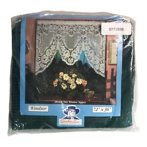 "Vintage Quaker Lace WINDSOR Window Topper 72"" x 36"" Green BRAND NEW SEALED NIP"