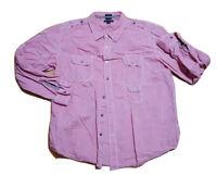 Tommy Hilfiger Men's  XL Trim fit Casual  Button Up Shirt Long Sleeve pink mint