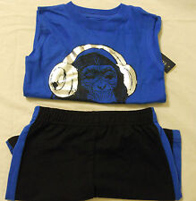 Boys Shorts Set Outfit Muscle Tee Shirts Black Blue Faded Glory Sz 4 5 6 7 8 NEW