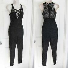 BEBE BLACK LYLA LACE UP FRONT JUMPSUIT CATSUIT NEW NWT SMALL S