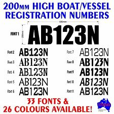 Boat REGISTRATION rego numbers letters.2x200mm waterproof viny decals stickers