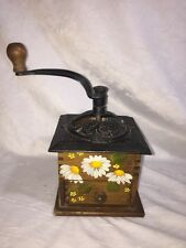 Antique Coffee Grinder With Drawer Hand Painted Daisies
