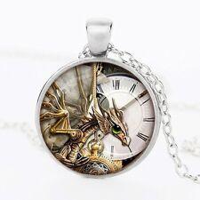 UK DRAGON PENDANT NECKLACE / Jewellery Gift Idea Gothic Fantasy Steampunk Clock