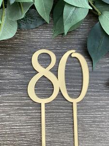 80,80th, Eighty, Birthday Cake Topper, Anniversary Topper, Mirror, ACRYLIC,
