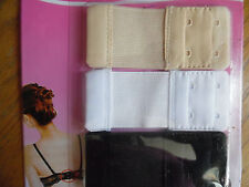 3 BRA EXTENDER BLACK,NUDE,WHITE FOR 2 HOOKS BRAS, EXTEND YOUR BRAS 2""