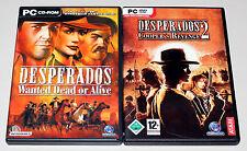 2 PC Jeux Set-DESPERADOS 1 & 2-Wanted dead or alive Coopers Revenge