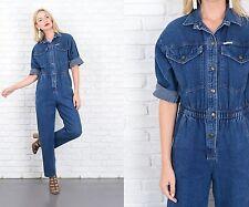 Vintage 80s 90s Blue Jean Denim Jumpsuit Pantsuit Retro Medium M