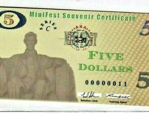 """$5 (MPC FEST) """"00000011**  (LOW SERIAL) SERIES C  (LOW SERIAL) RARE! """"00000011"""""""