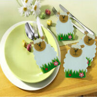 4pcs Easter Sheep Lamb Holders Pockets Dinner Table Decorations Cutlery Bags