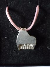 """Piano TG2 English Pewter On a 18"""" Pink Cord Necklace"""
