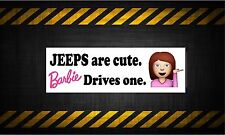Jeeps are cute barbie drives one 7'' vinyl car sticker decal buy 1 get 1 free