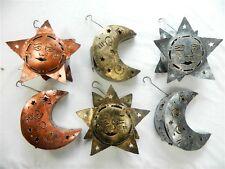 Suns & Moons Hanging Metal Tea light Candle Holder Garden Lantern Assorted Cols