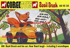 Corgi toys 808 basil brush voiture A3 t poster notice shop display signe