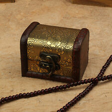 Vintage Small Metal Lock Jewelry Treasure Chest Case Holder Box Wooden Healthy
