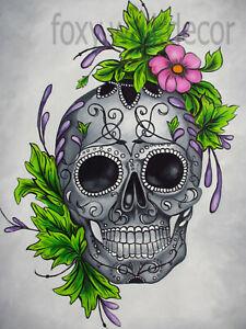 "39"" canvas print gothic skull flower art painting street modern pop"