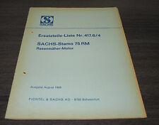 Ersatzteilliste Preisliste Sachs Stamo 75 RM  Rasenmäher Motor Nr. 417.6/4  1968