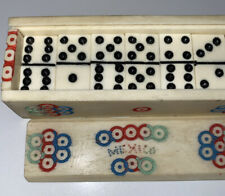! Set Dominoes Carved Bone from Mexico small MINIATURE Jewelry Making Souvenir