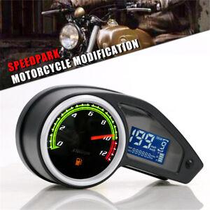 Universal LCD Digital Motorcycle Speedometer Tachometer Racer Odometer KM/H MPH