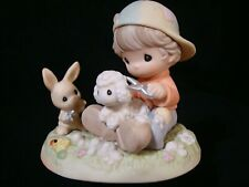 New ListingPrecious Moments-Country Lane-Boy And Rabbit Clipping Wool From Sheep-Retired+