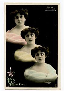 c 1907 Reutlinger Pretty Lady FRENCH THEATER Opera Piron Vintage photo postcard