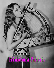 """DOLORES COSTELLO 8X10 Lab Photo 1920s """"RUSSELL BALL"""" Harp Glamour Portrait"""