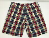 Polo Jeans Ralph Lauren Flat Front Shorts Madras Plaid Red Yellow Blue Mens 40