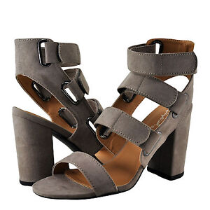 Women's Shoe Qupid Chester 123 Open Toe Strappy Chunky Heels Taupe *New*