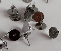 50 Earring Stud Post & Backs 12mm Pad Hypoallergenic Surgical Steel Made in USA