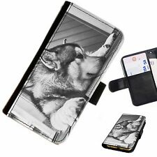 WOLV02 DOG SLEEPY WOLF PRINTED LEATHER WALLET/FLIP CASE COVER FOR MOBILE PHONE