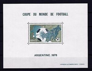 MONACO 1978 SOCCER, FOOTBALL RARE Sheet OF SPECIAL ISSUE MNH ** Mi € 400