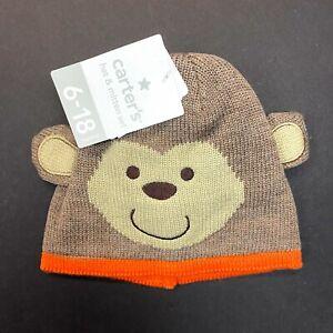 Carter's Baby Hat & Mitten Set Ages 6-18 Months - Brown Monkey