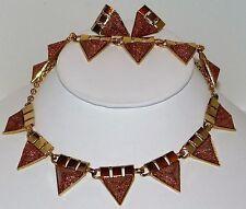 Art Deco Aventurescence (Sunstone) Earrings and Necklace, bracelet set beautiful