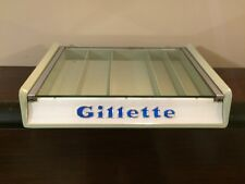 Cool Vtg 1950s Gillette Razor Glass Top Store Display Case Green Streamlined