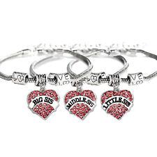 3 Sister Friendship Bracelets Crystal Heart Pendant Jewelry Sis BFF Best Friends