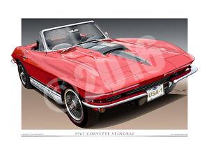 1967 Corvette Stingray Print - Classic Corvette Car Drawing By Unique Autoart