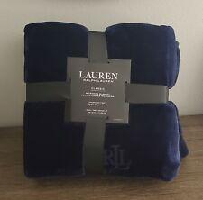 Ralph Lauren Classic King Micromink Blanket Navy 100% Polyester New
