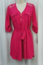 XOXO Dress Sz XS Fuchsia Pink Belted Cut-Out 3/4 Sleeve Tunic Cocktail Casual