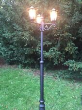 2m Tall Outdoor 3 (Triple) Head Victorian Garden Lamp Post in Black