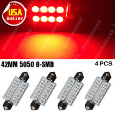 4 PCS Pure Red 42MM 5050 8-SMD Map Dome Interior LED Light 578 569 211-2 212-2