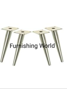 NEW 4 x CHROME FURNITURE LEGS FEET FOR SOFAS, BED, FOOTSTOOL & Chairs GOOD PRICE