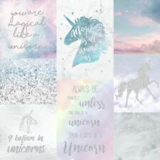 Arthouse Believe in Unicorns Collage Glitter Wallpaper 698300