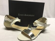 Enzo Angiolini Kahny Women's Wedge Sandals, White, Size 10 M