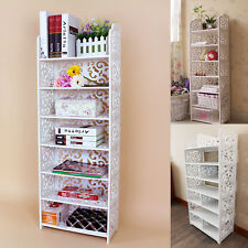 7 Tiers White Chic Hollow Out Shoe Rack Stand Storage Organiser Shelf 110cm